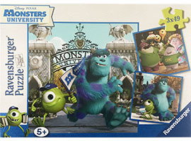 3 x 49 Teile-PuzzleMike und Sully / Ravensburger
